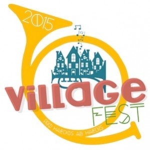 Logo for VillageFest 2015, a charity concert featuring young musicians from Dunwoody, GA. Proceeds will benefit Camp Twin Lakes.