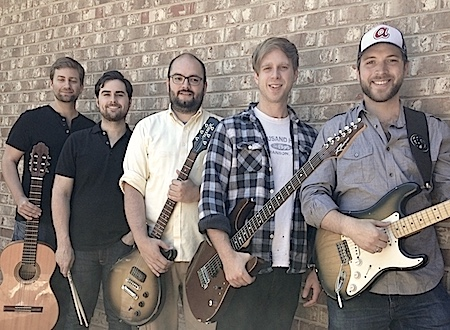 A picture of the Dunwoody Music members holding their respective instruments.  Left to right: Kelly, Tyler, Mark, Brad, and Seth.